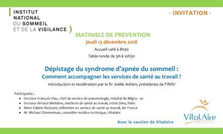 Matinale de prévention – jeudi 13 décembre 2018